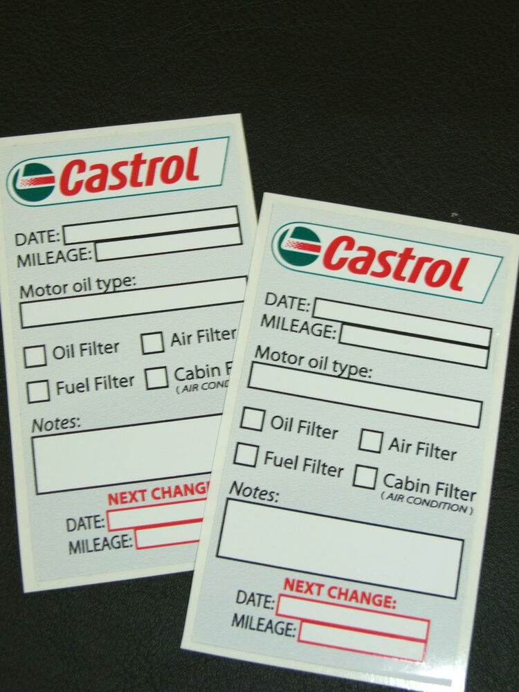 Set Of 10 Castrol Oil Change Service Reminder Stickers