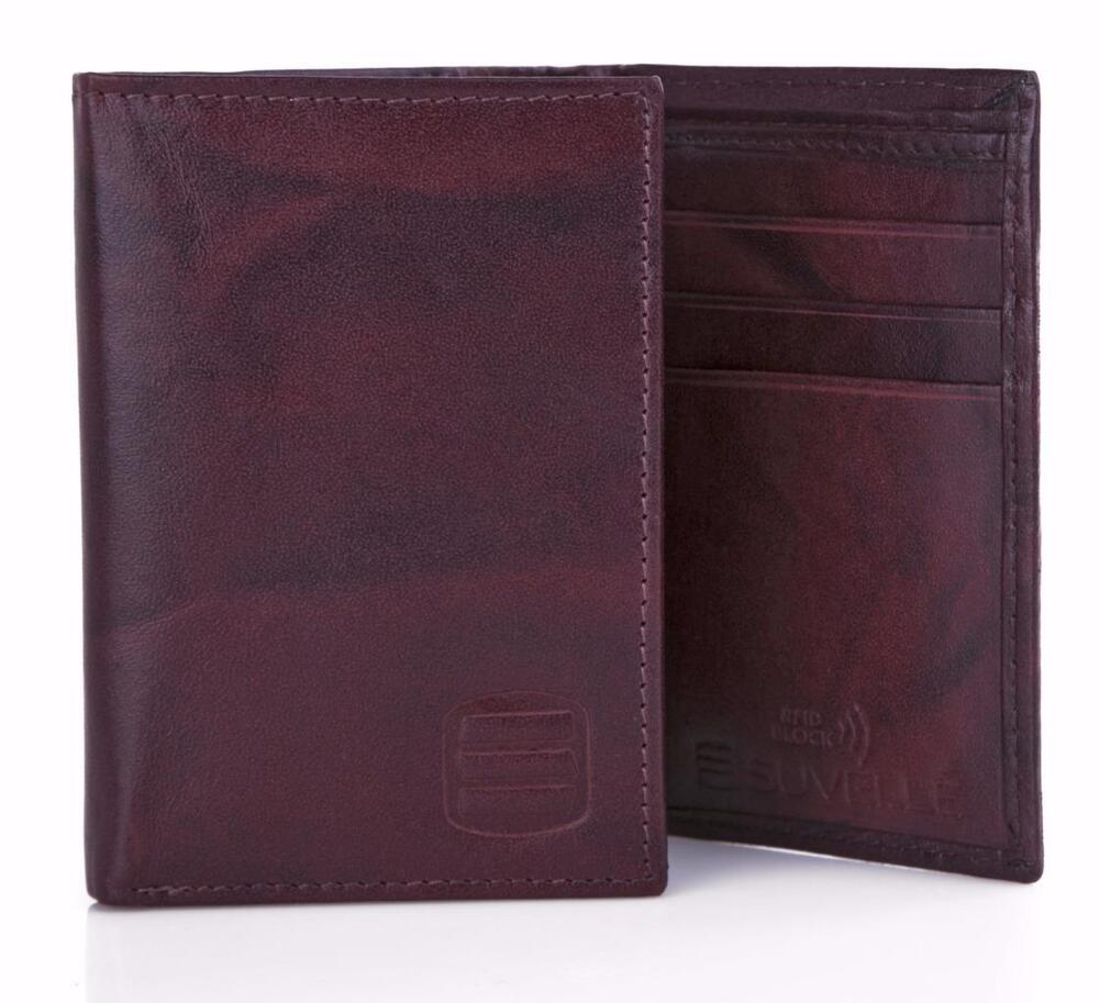 Suvelle Trifold Men S Genuine Leather Rfid Wallets Slim