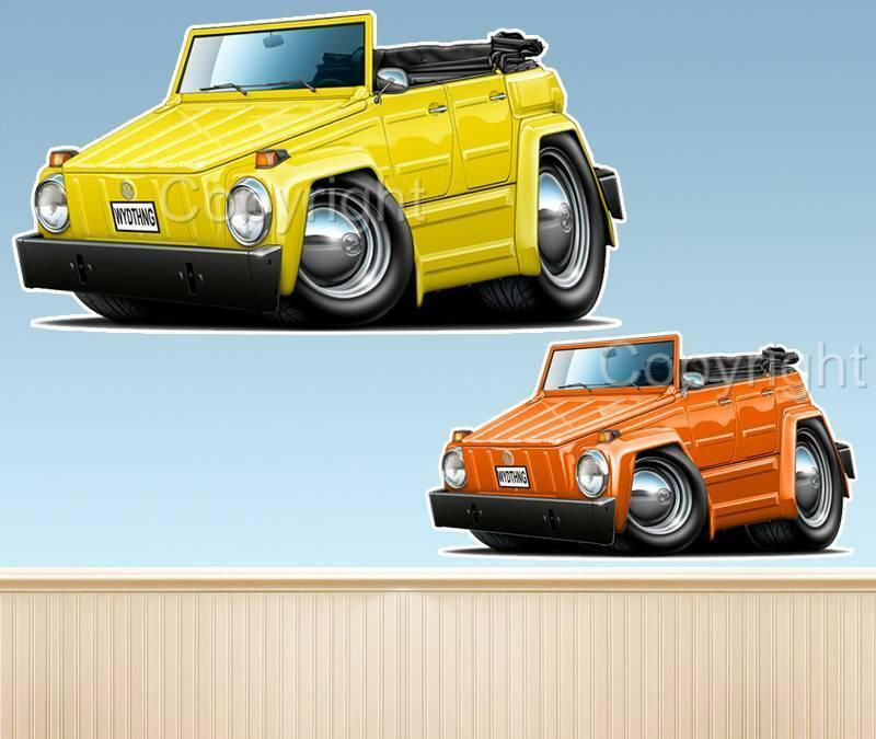 VW Thing Type 181 Cartoon WALL DECAL MAN CAVE ROOM MURAL ...