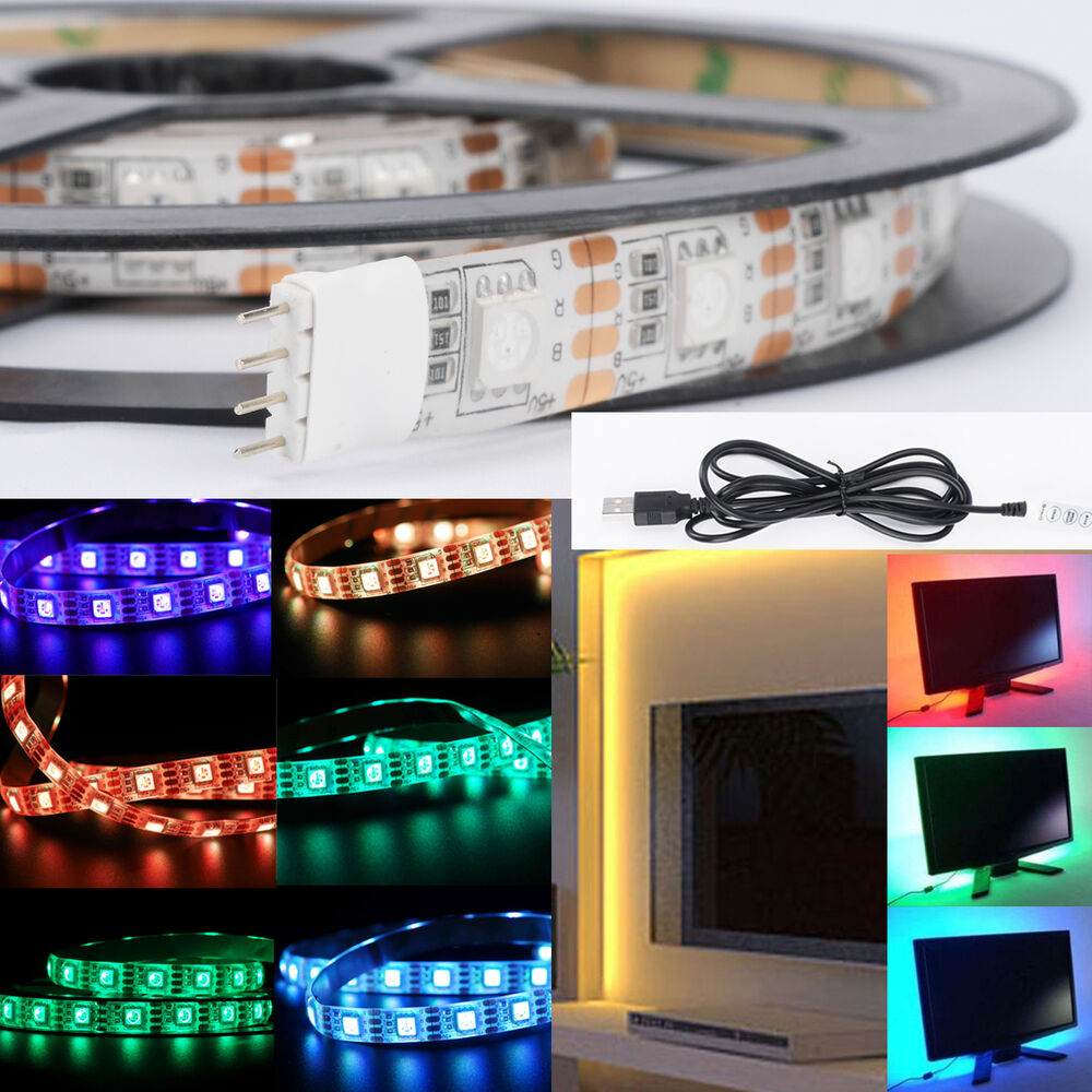 Color Changing Led Light Strips: 5V 5050 RGB LED Strip Light Color Changing USB TV PC