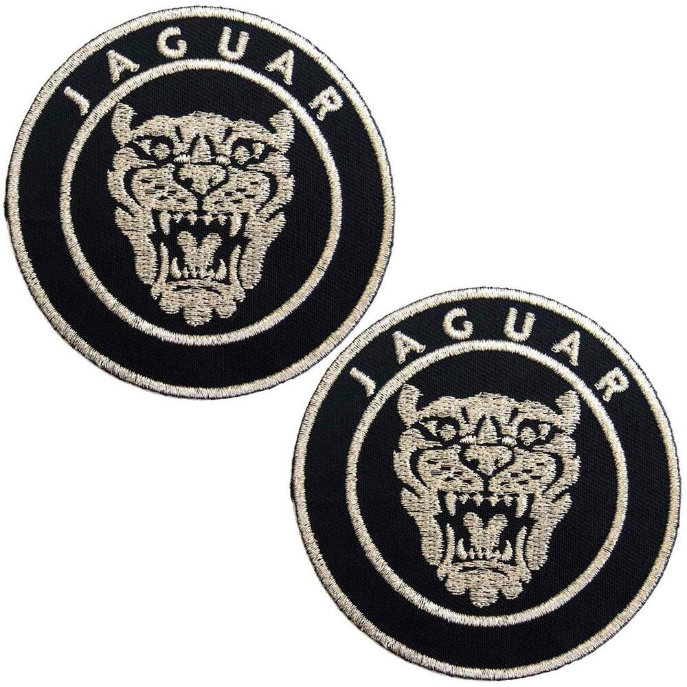 Set of 2 Jaguar Silver Embroidered Iron on Patch