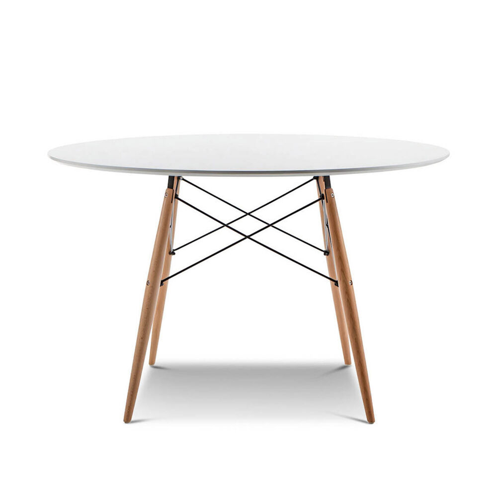 Replica retro eames dsw eiffel white round 120cm dining for Reproduction eames dsw