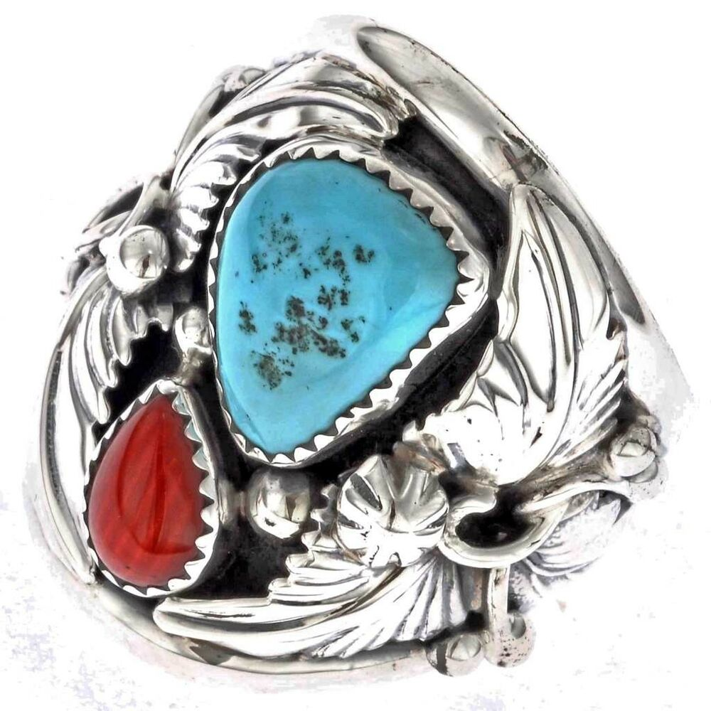 Turquoise Coral Mens Ring Navajo Silver Big Boy Any Size