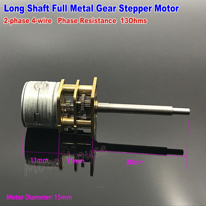 Dc 5v 2 phase 4 wire 15mm gear stepper motor full metal for Stepper motor gear box