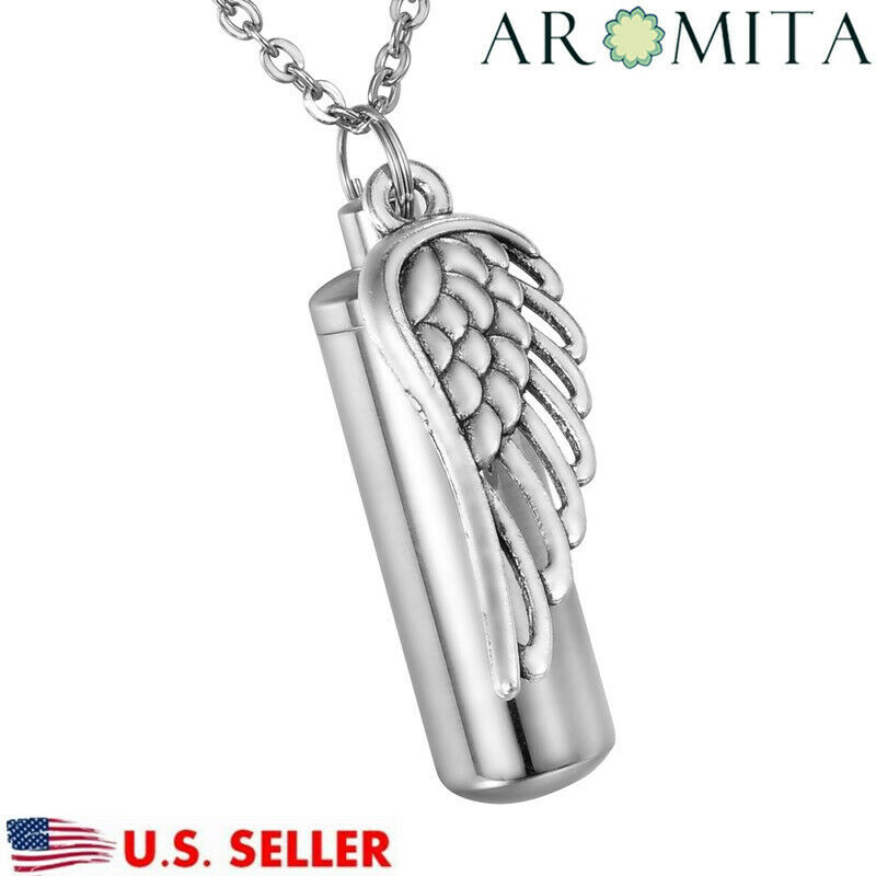 Angel Wing Urn Necklace: VALYRIA Angel Wing Cylinder Cremation Jewelry Memorial Urn