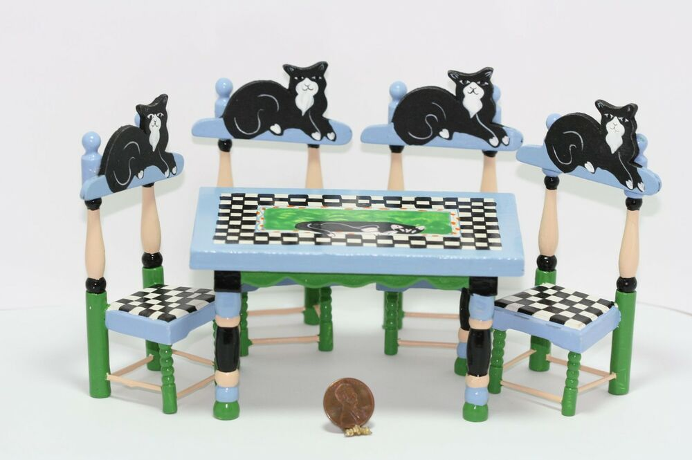 Dollhouse Miniature Whimsical Black Cat Table Amp Chairs Set