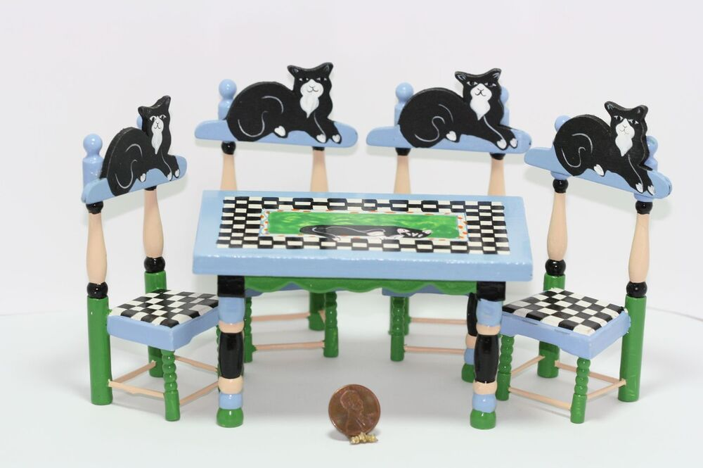 Dollhouse Miniature Whimsical Black Cat Table & Chairs Set ...