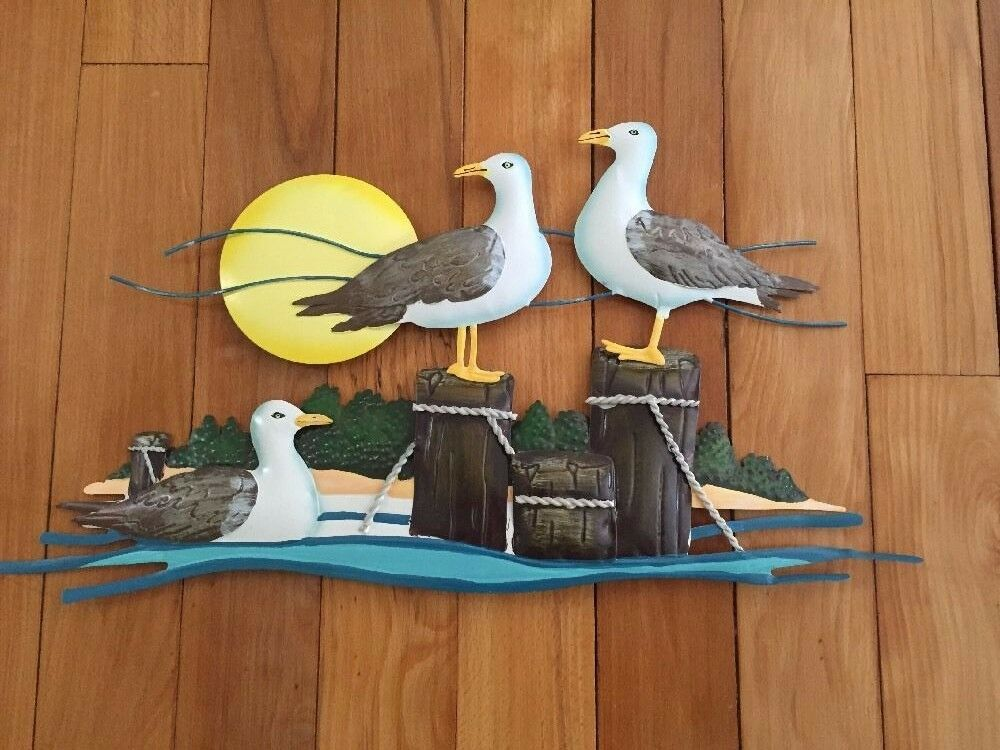 Coastal Wall Decor: Seagulls Beach Coastal Nautical Metal Wall Decor Lake
