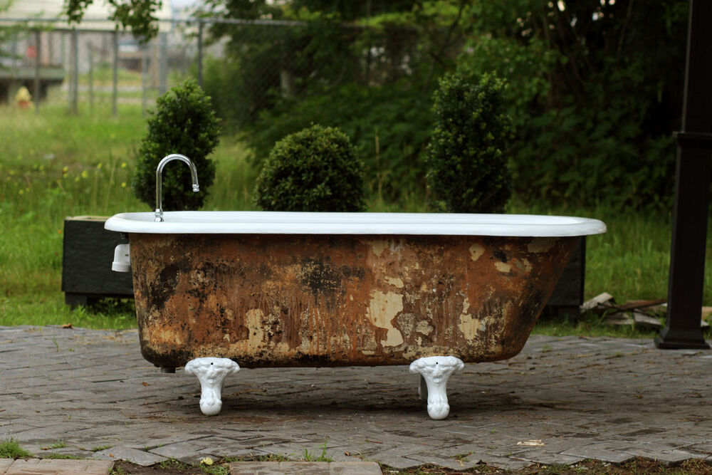 Refinished 5 39 Clawfoot Bathtub Mottled Umber Exterior Cast Iron Porcelain