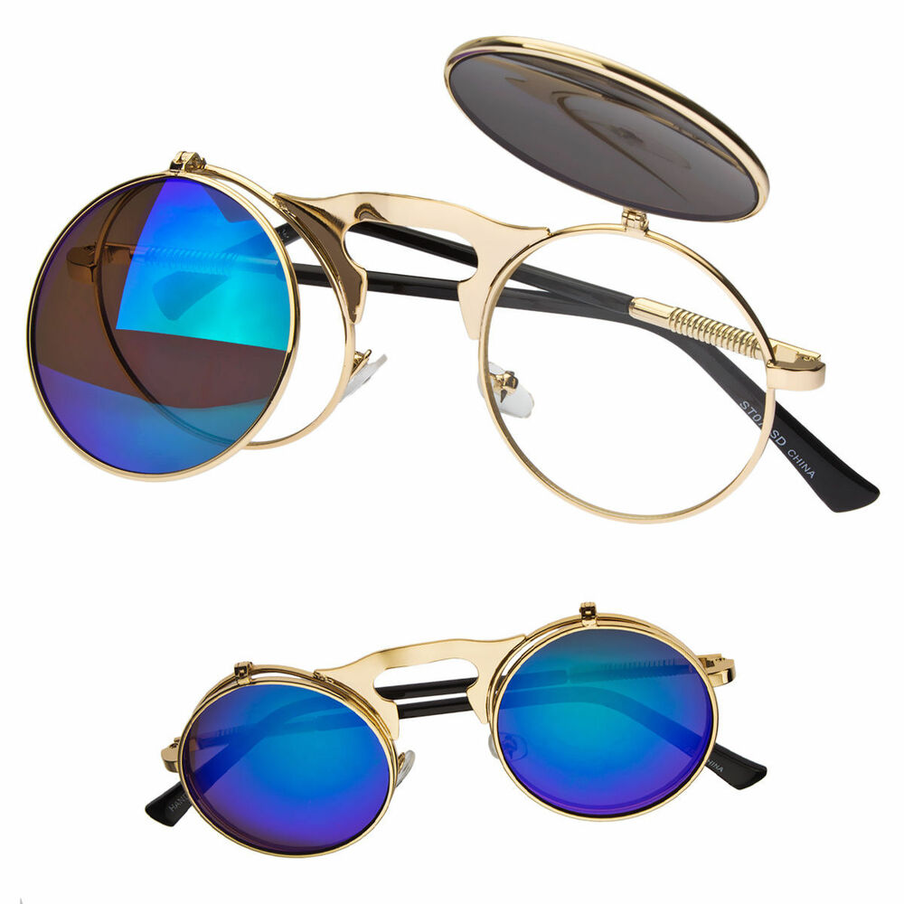 2cfd81a4f7e Details about Cool Flip Up Lens Steampunk Vintage Retro Style Round  Sunglasses Black Gold New