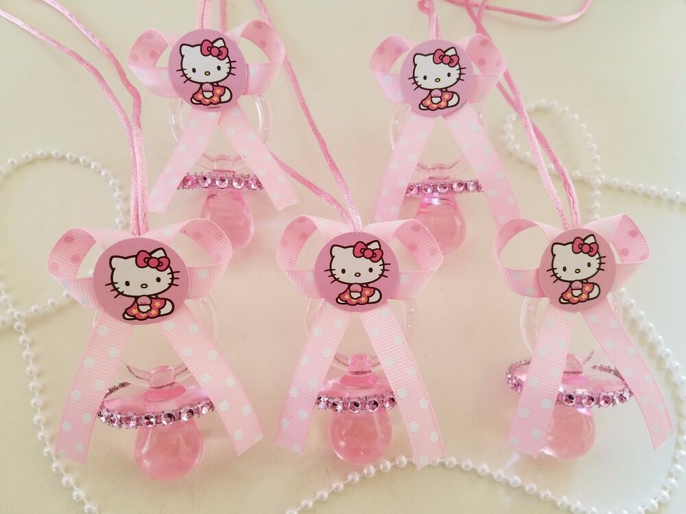 12 Hello Kitty Pink Pacifier Necklaces Baby Shower Game Favors Prizes~Girl Decor | eBay