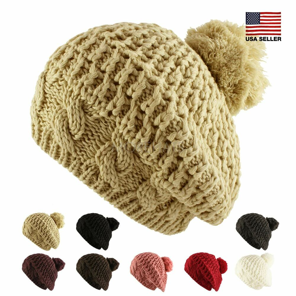 ca73a7bbb64 Details about Thick Crochet Knit Pom Pom Beret Beanie Warm Winter Ski Hat  Womens Mens Unisex