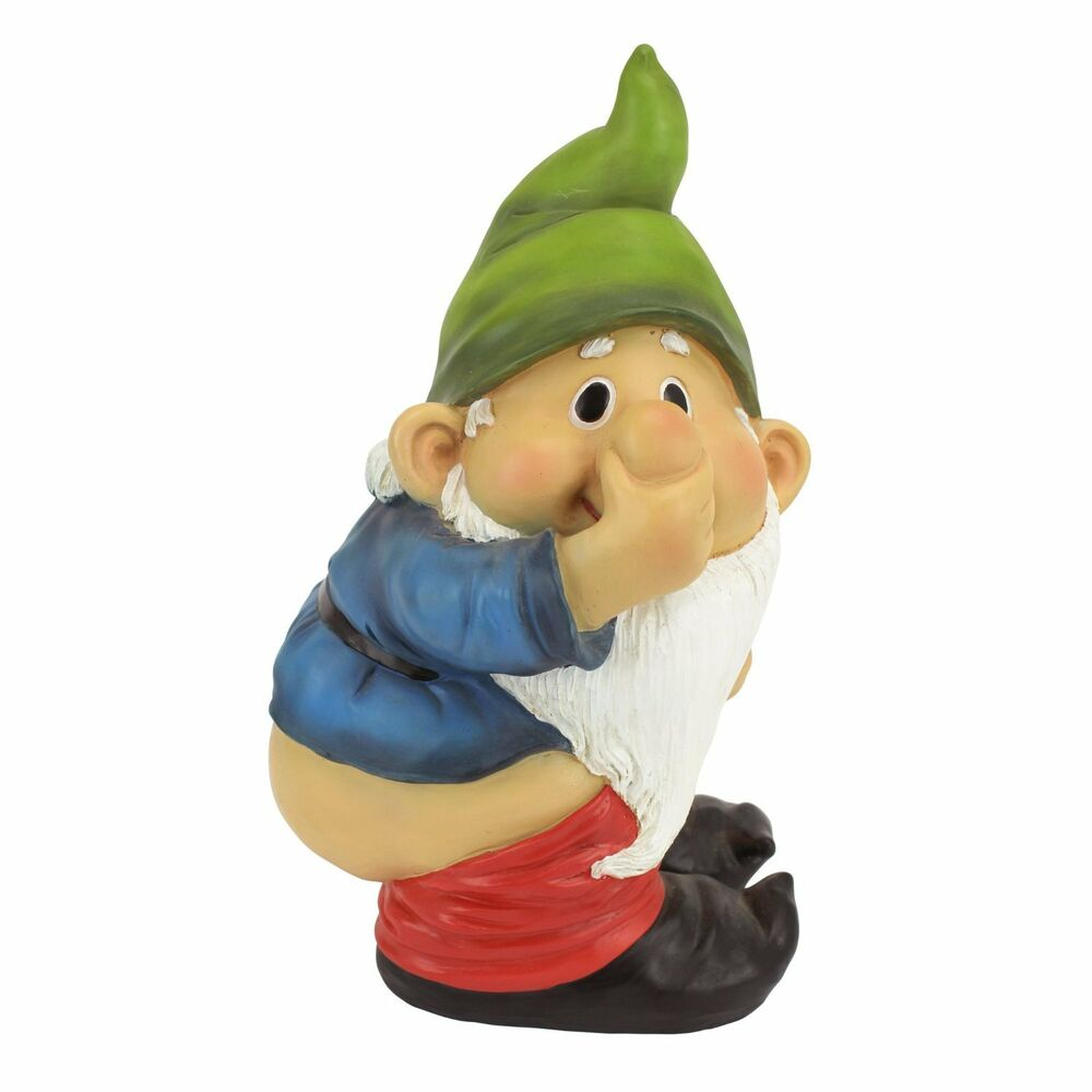 "Gnome In Garden: 9.5"" Stinky The Garden Gnome Statue Outdoor Decor Figurine"