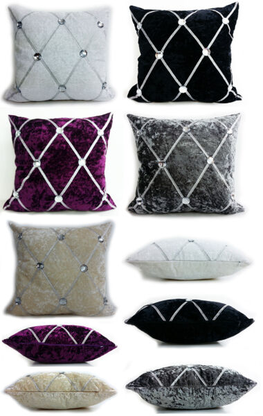 Grand Velours Strass Chesterfield Coussins ou Housses 3 Tailles 5 Couleurs