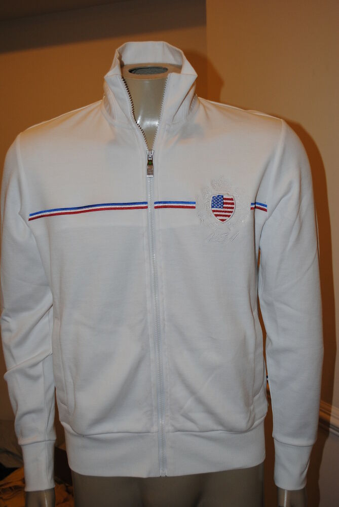 472ece4b20a Details about NEW MENS HUGO BOSS  Skaz Flag 1   USA Flag Full Zip  Sweatshirt TRACK JACKET XL