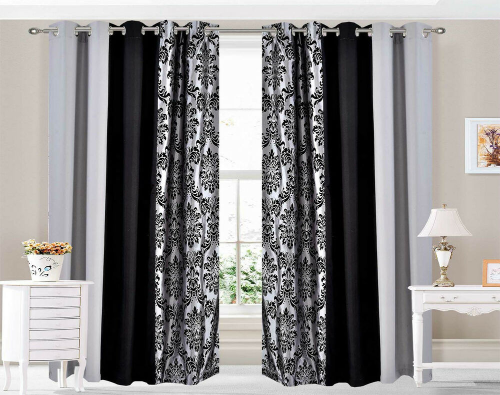 eyelet ring top curtains damask 3 tone fully lined silver. Black Bedroom Furniture Sets. Home Design Ideas