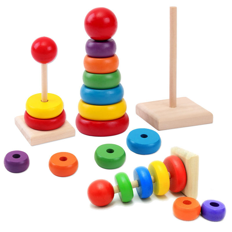 1 Set Tower Ring Wooden Toy Kids Baby Child Stack Nest ...
