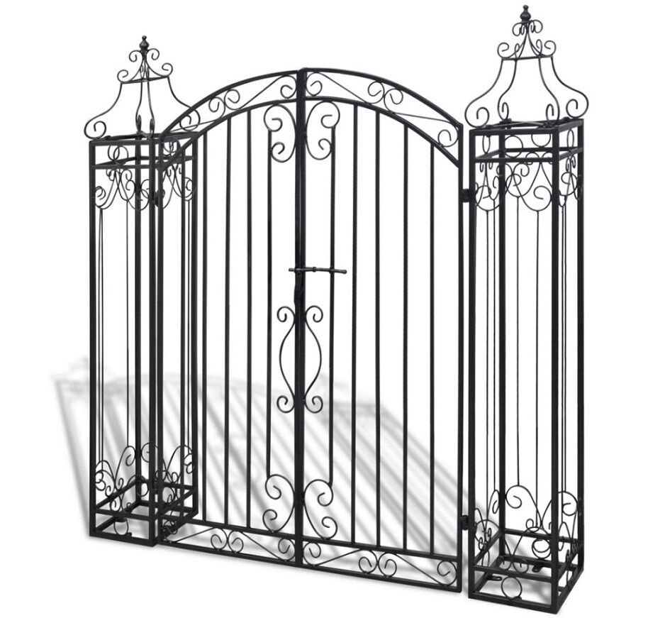 Wrought Iron Gates And Steel Barriers: Iron Garden Gate Wrought Side Door Metal Yard Arch Trellis