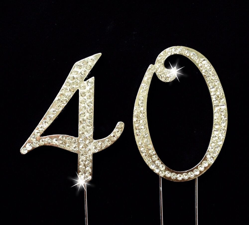40th birthday anniversary number cake topper sparkling rhinestones inches ebay. Black Bedroom Furniture Sets. Home Design Ideas