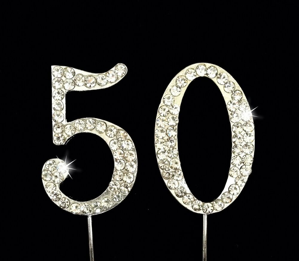 50th Birthday Anniversary Number Cake Topper Sparkling ...