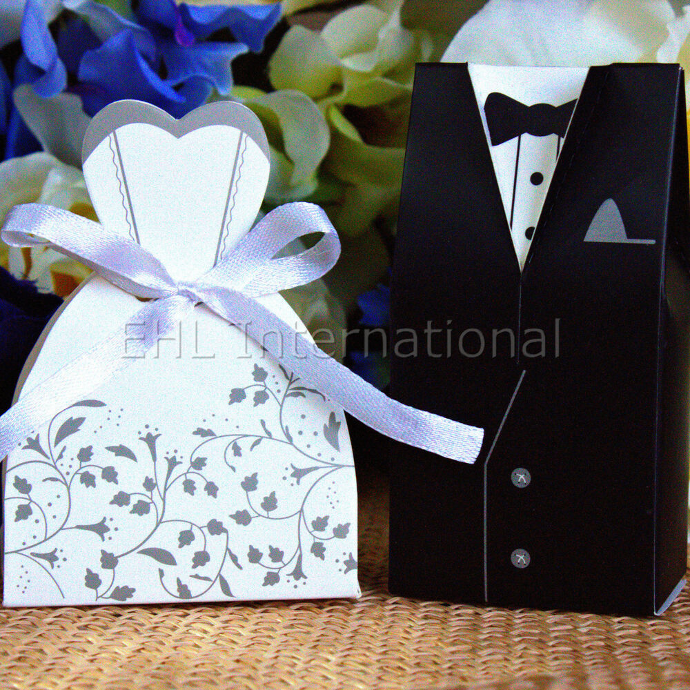 Wedding Gift Boxes Ebay : Wedding Favor Boxes Dress & Tuxedo Party Bride Groom Shower Gift ...