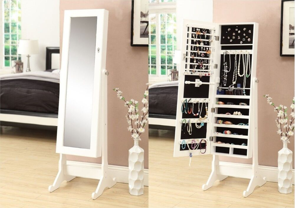 mirror jewelry armoire storage stand cabinet box white organizer necklace holder ebay. Black Bedroom Furniture Sets. Home Design Ideas