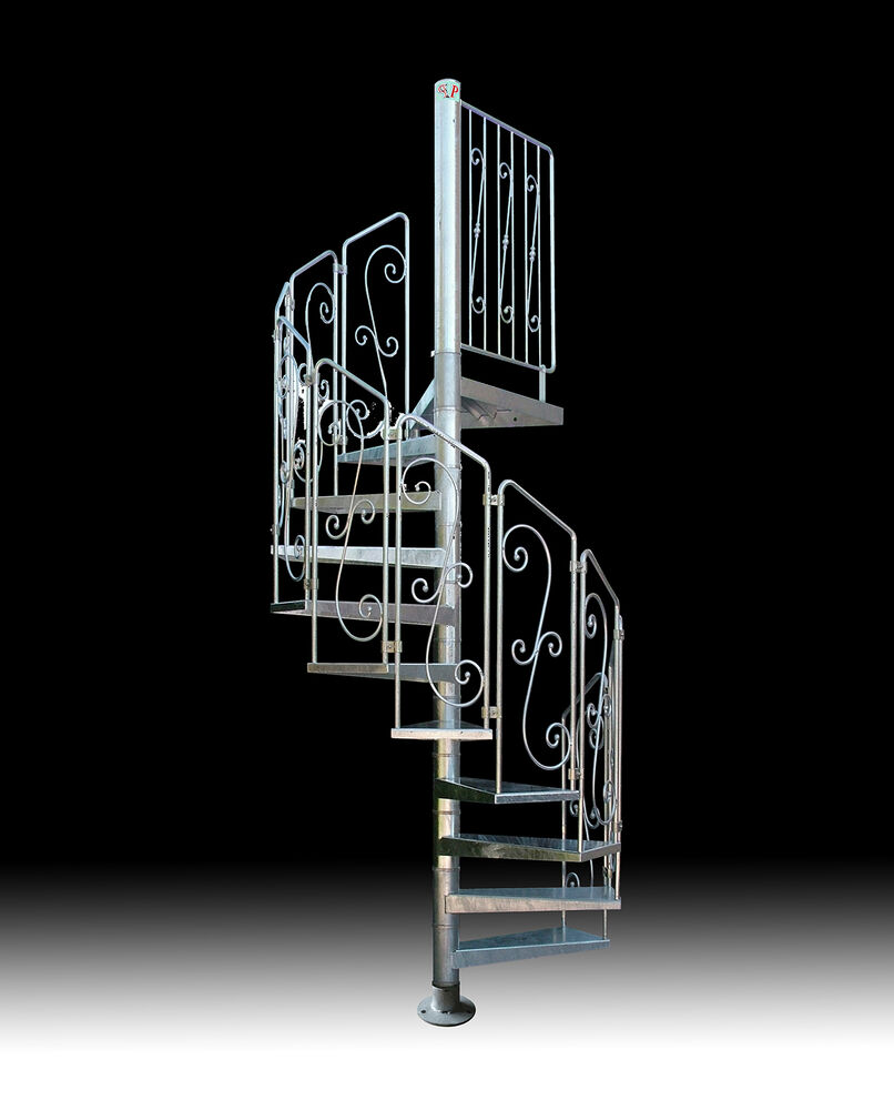 Spiral staircase mod asgaard galvanized steel wrought for Square spiral staircase