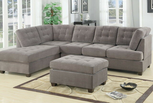 Contemporary 3pc Grey Sectional Sofa Microsuede Reversible
