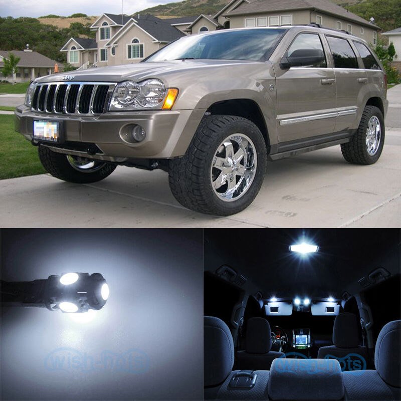 10pcs white smd interior led lights kit for 2005 2010 jeep grand cherokee wk ebay. Black Bedroom Furniture Sets. Home Design Ideas