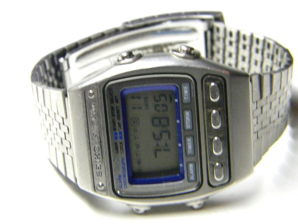 mens seiko silver wave digital lcd day date chronograph