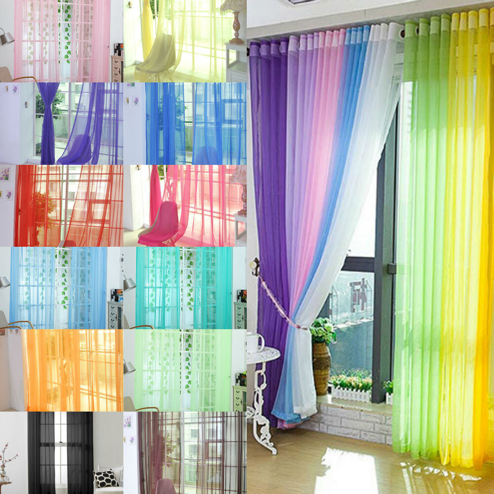13farbe dekoschal vorhang mit kr uselband fensterschal transparent voile gardine ebay. Black Bedroom Furniture Sets. Home Design Ideas