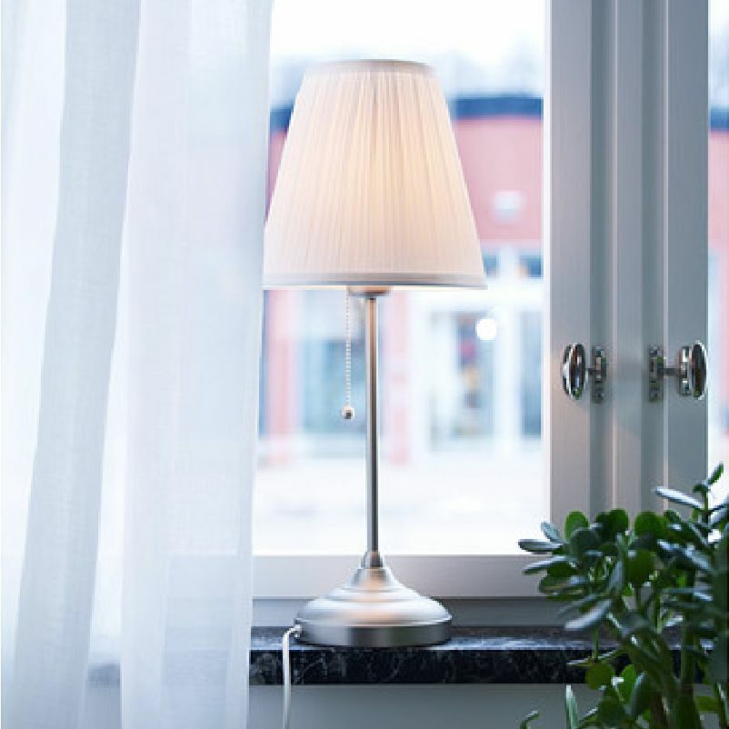 Ikea Arstid Table Lamp Nickel Plated White French