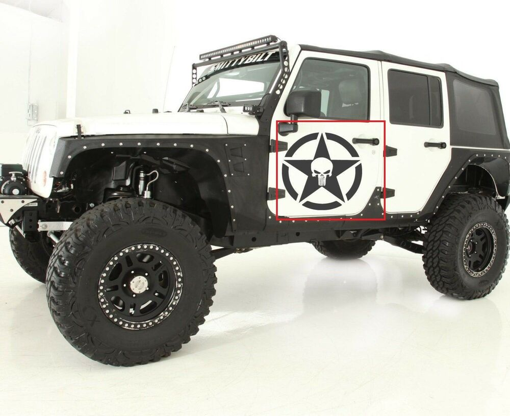 2 Skull Decal Sticker Kit For Jeep Wrangler Tyres Off Road