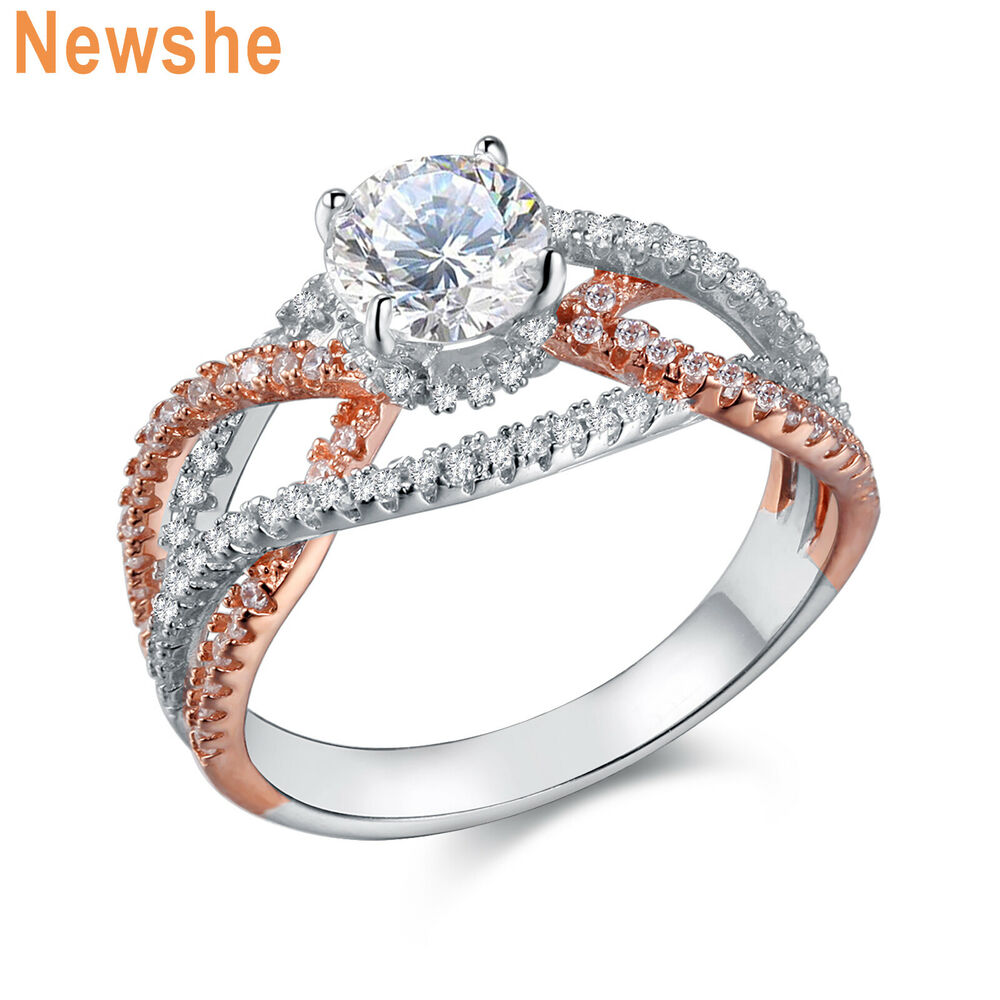 rose gold and silver wedding rings white cz 925 sterling silver gold wedding 7114