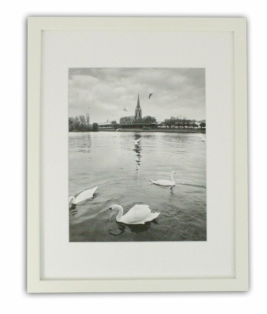 11x14 Photo White Collage Frame With Real Glass And Mat
