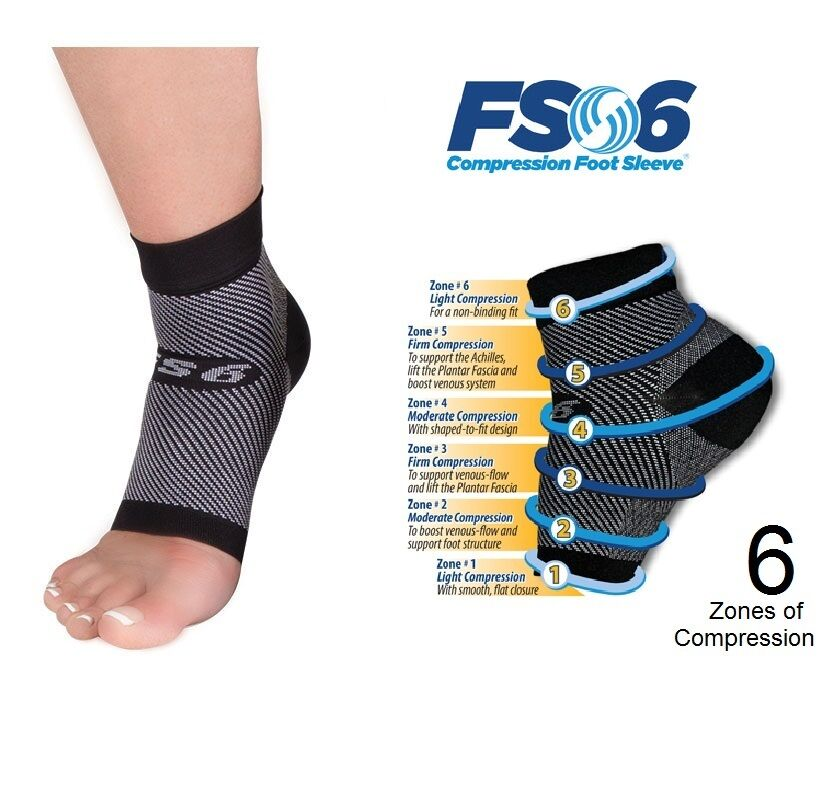 FS6 Compression Foot Sleeve Sock - Plantar Fasciitis (Pair ...