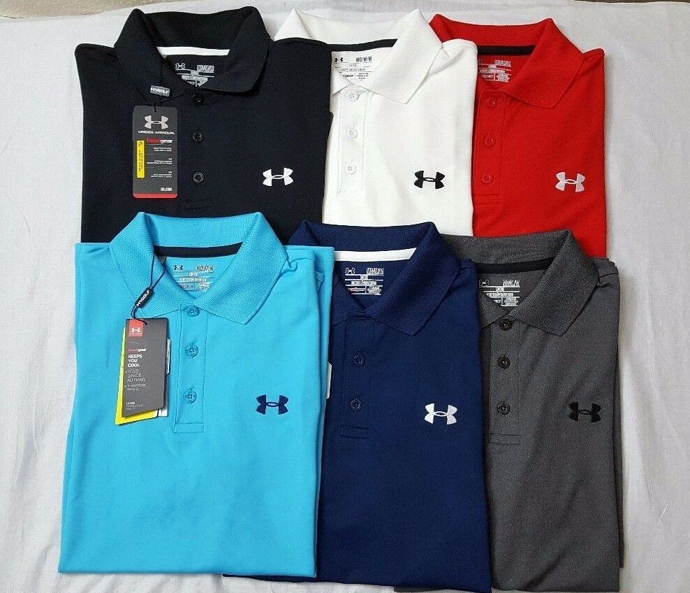 Nwt under armour heat gear men 39 s solid golf loose fit polo for Under armour 3xl polo shirts