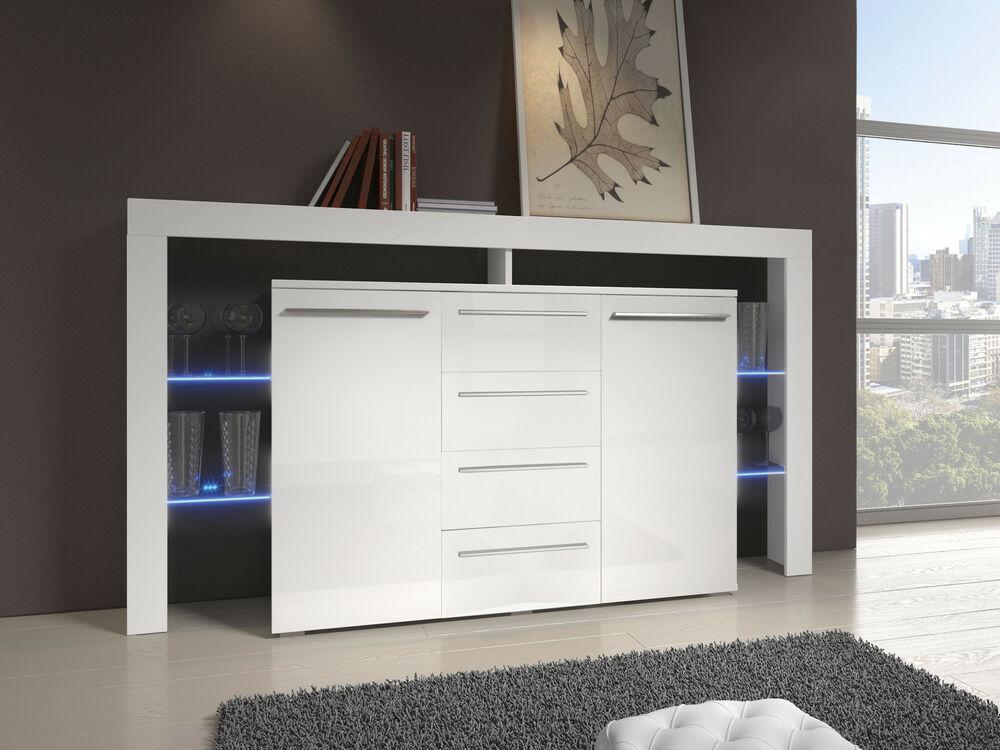 MODERN LIVING ROOM SIDEBOARD CUPBOARD CHEST OF DRAWERS HIGH GLOSS ...