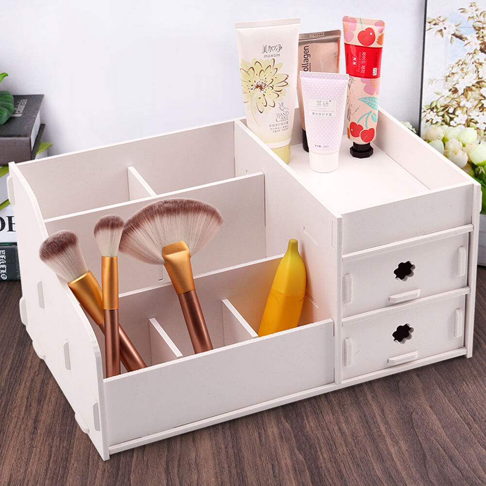 wpc cosmetic organizer box makeup brush holder case. Black Bedroom Furniture Sets. Home Design Ideas