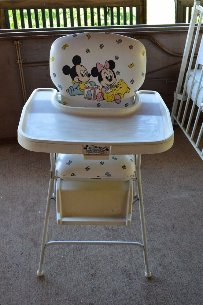 Rare Vintage Disney Babies Mickey Minnie Mouse High Chair