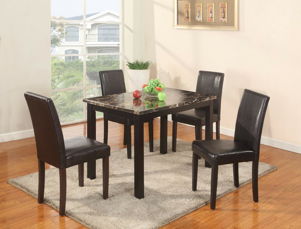 The room style 5pc dining set 1 faux marble table with 4 for 4 dining room table