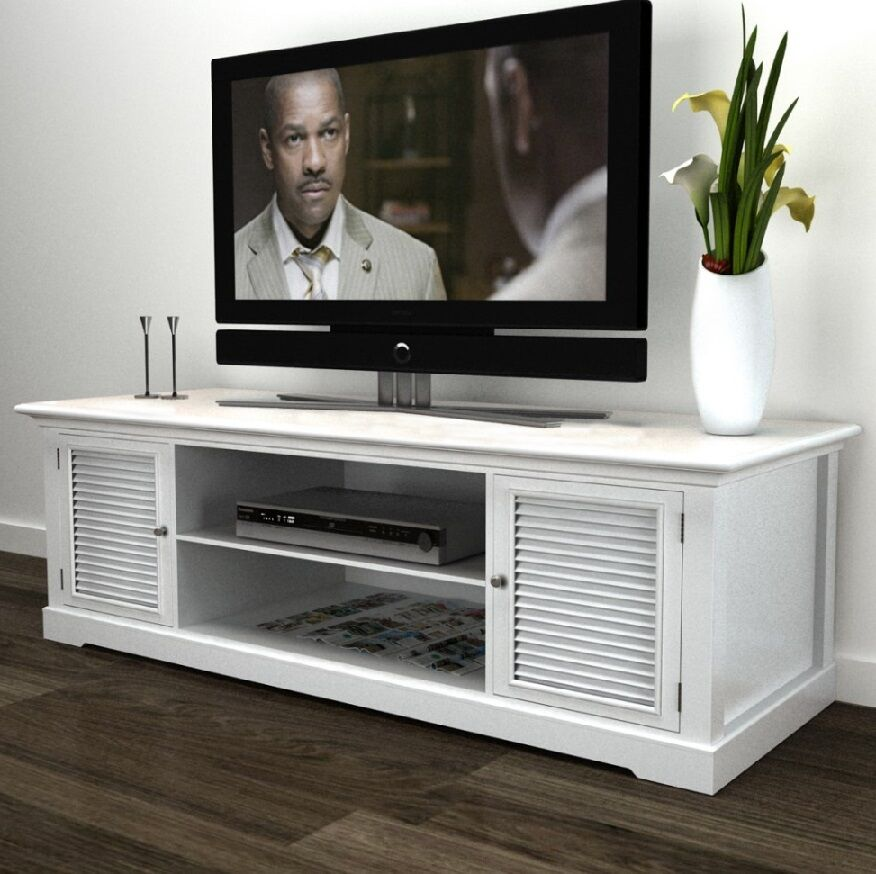 shabby chic sideboard tv stand furniture dvd cabinet white unit 2 doors shelves ebay. Black Bedroom Furniture Sets. Home Design Ideas