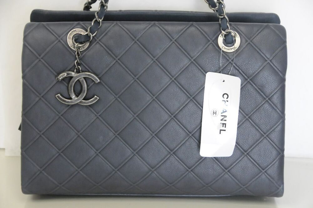 4eb097a217fd61 New Chic CHANEL Classic Large Zip Shopping 30 cm Quilted Tote Blue Leather  Bag | eBay