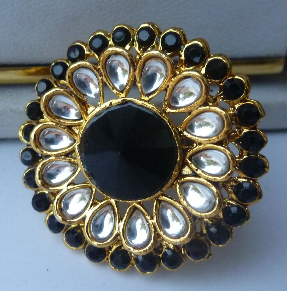 black white cz indian finger kundan ring
