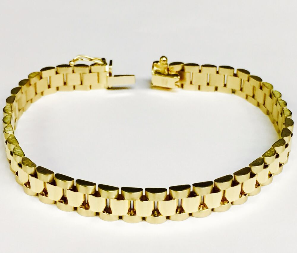 Gold Jewelry Bracelets: 14kt Solid Yellow Gold RLX Style Link Mens Bracelet 8.25