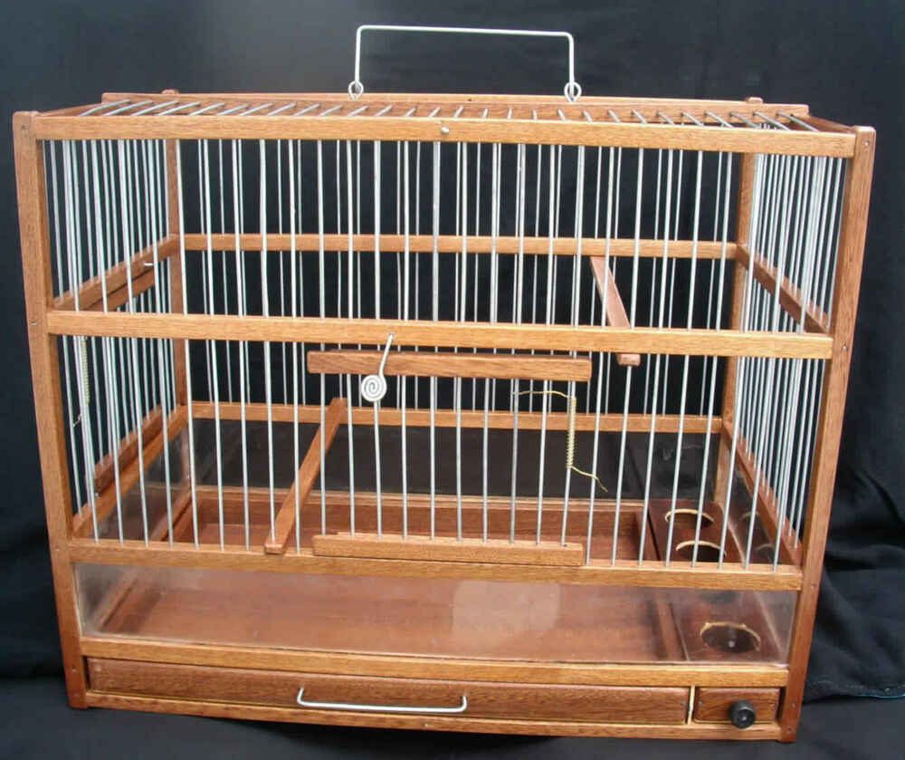 Amazing wooden hand crafted bird cage slide out tray - Cage a oiseaux en bois deco ...