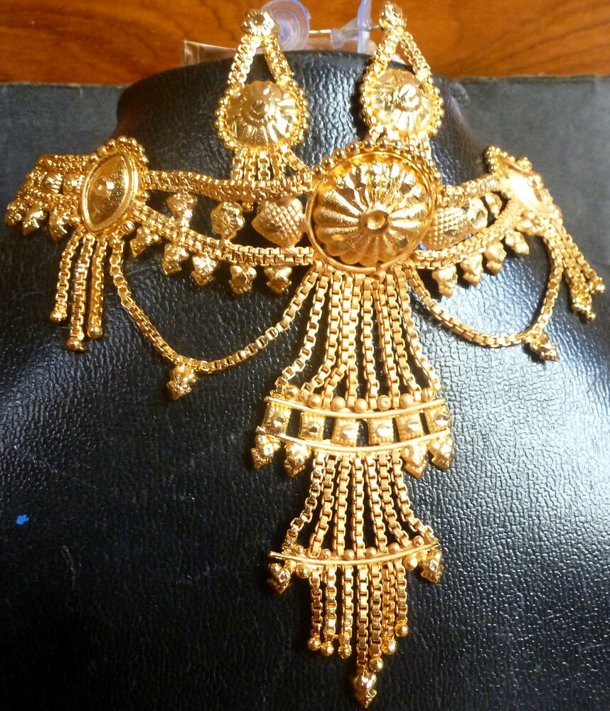 Indian 22k Gold Plated Wedding Necklace Earrings Jewelry: 22K Gold Plated Indian Wedding 8'' Long Rani Haar