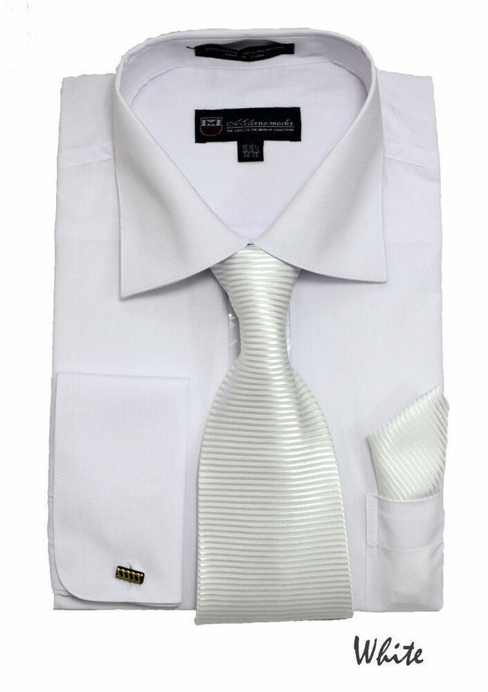 New men 39 s french cuff dress shirt matching tie for Mens dress shirts french cuffs