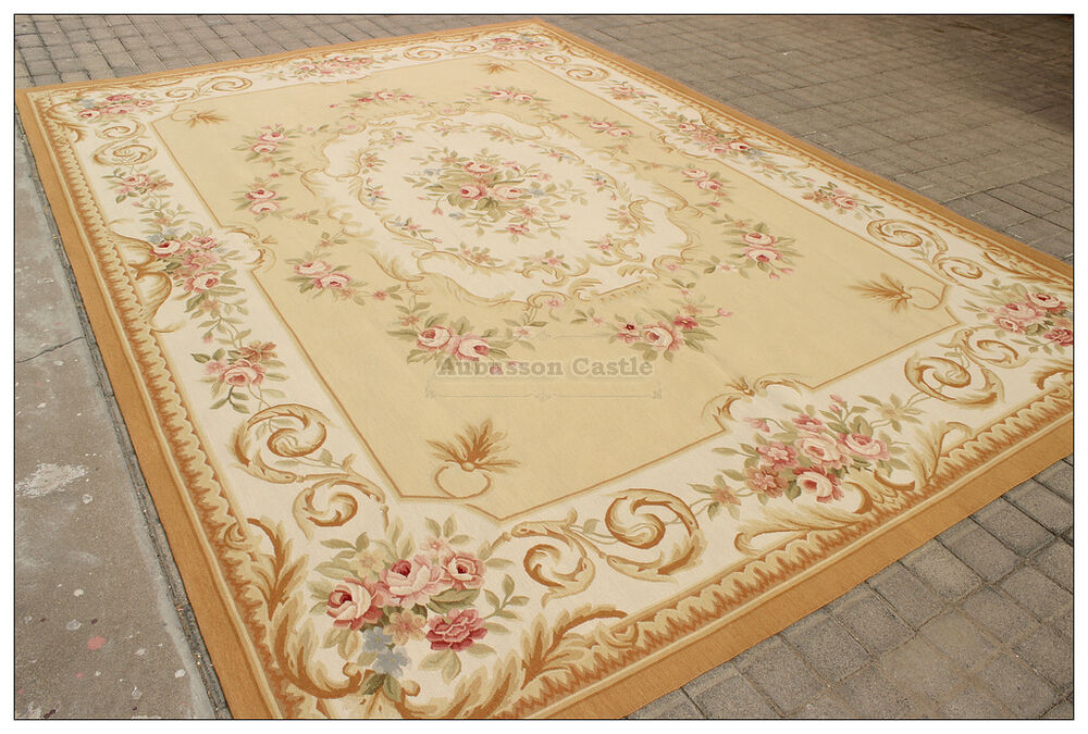 9x12 aubusson area rug yellow beige ivory w pink rose wool french decor carpet ebay. Black Bedroom Furniture Sets. Home Design Ideas