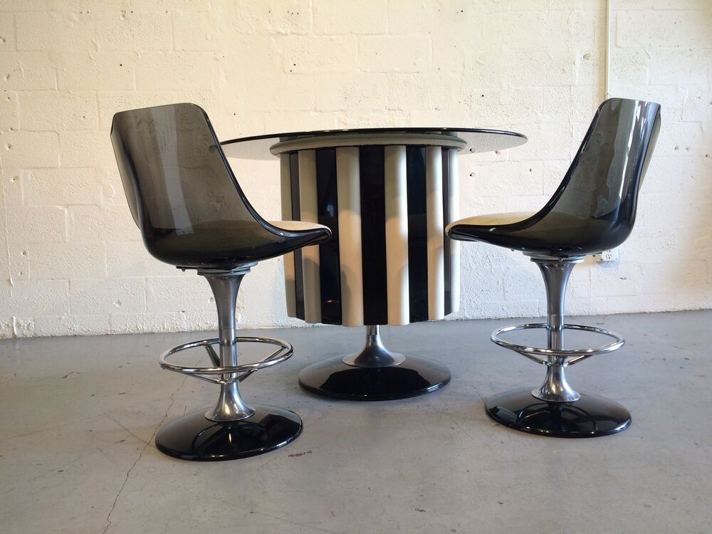 Chromcraft Bar With 2 Stools Lucite Space Age Eames Knoll